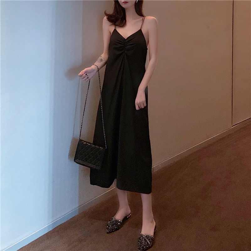 Сексуальное женское длинное платье с v-образным вырезом Макси платье свободное Холтер без рукавов Слинг женские платья