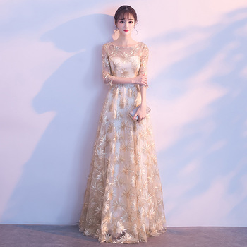 Sexy Slim O-neck Lace Appliques Embroidery Lace Up Chinese style Evening Dress Vestidos Size S-3XL