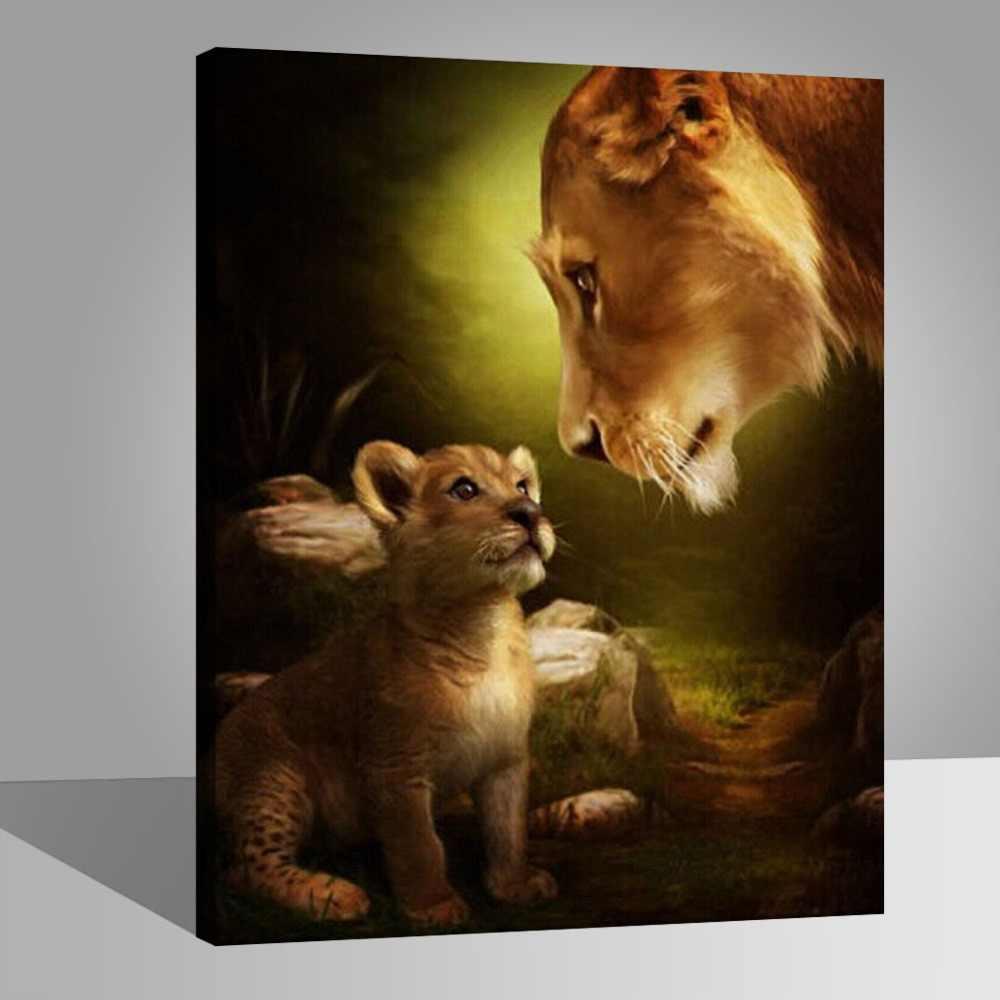 WEEN Sư Tử Cái và Sư Tử TỰ LÀM Tranh Sơn Dầu Vẽ với Bàn Chải Sơn, Sơn bằng Sơn Số Kit cho Người Lớn, sơn dầu cho Trẻ Em 40x50 cm