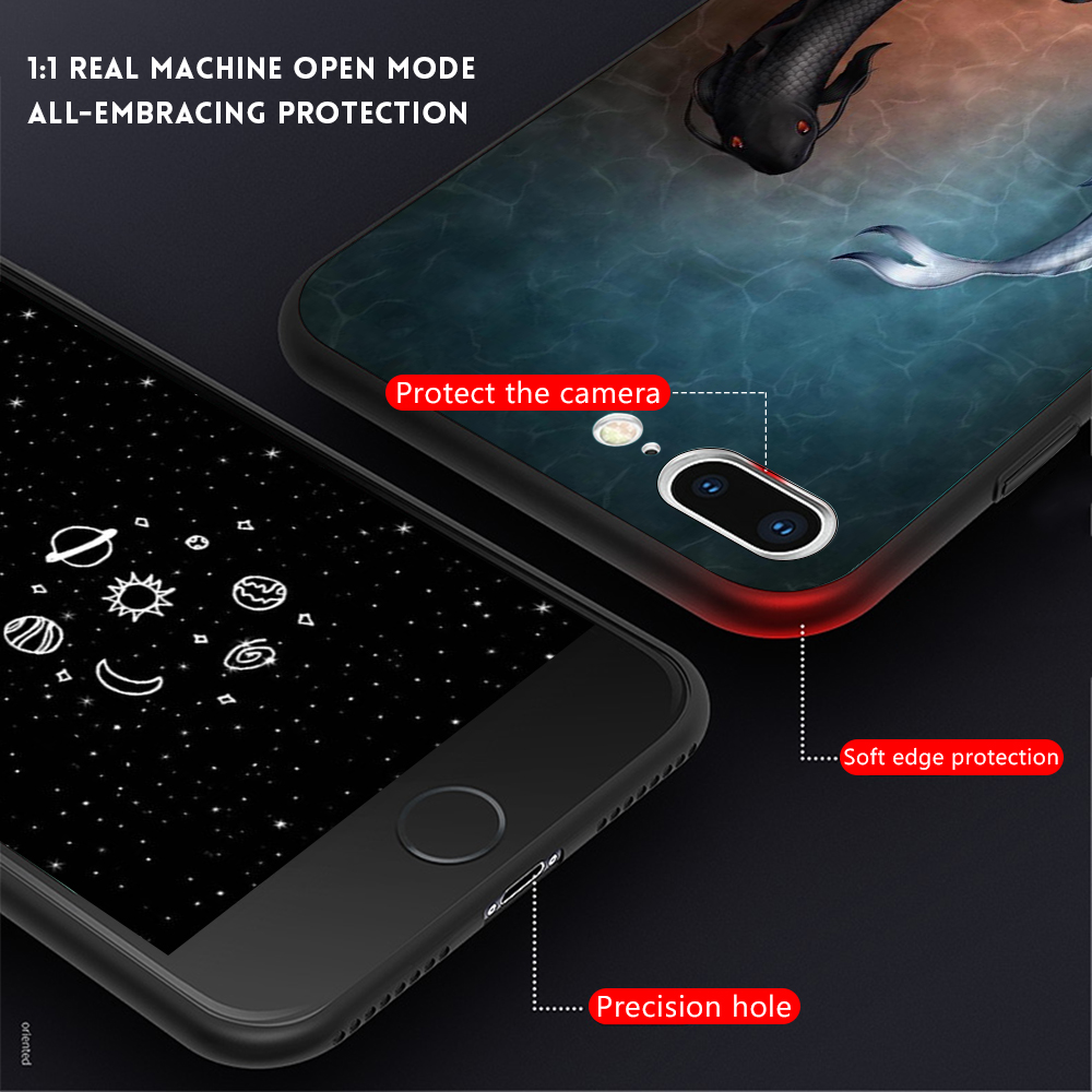 , Black TPU Matte Case For iPhone XS Max XR 7 6 S 6S 8 Plus X 10 Thin Silicone Phone Cases Cat Pet Planet Painting Patterned Cover