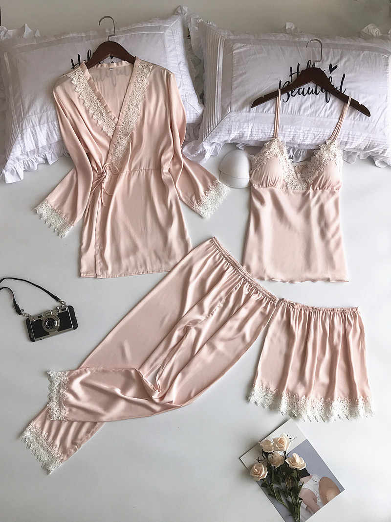 ... MECHCITIZ 2018 silk pajamas set for women autumn winter bathrobe top  short pants 4 pieces lace ... f5101fead