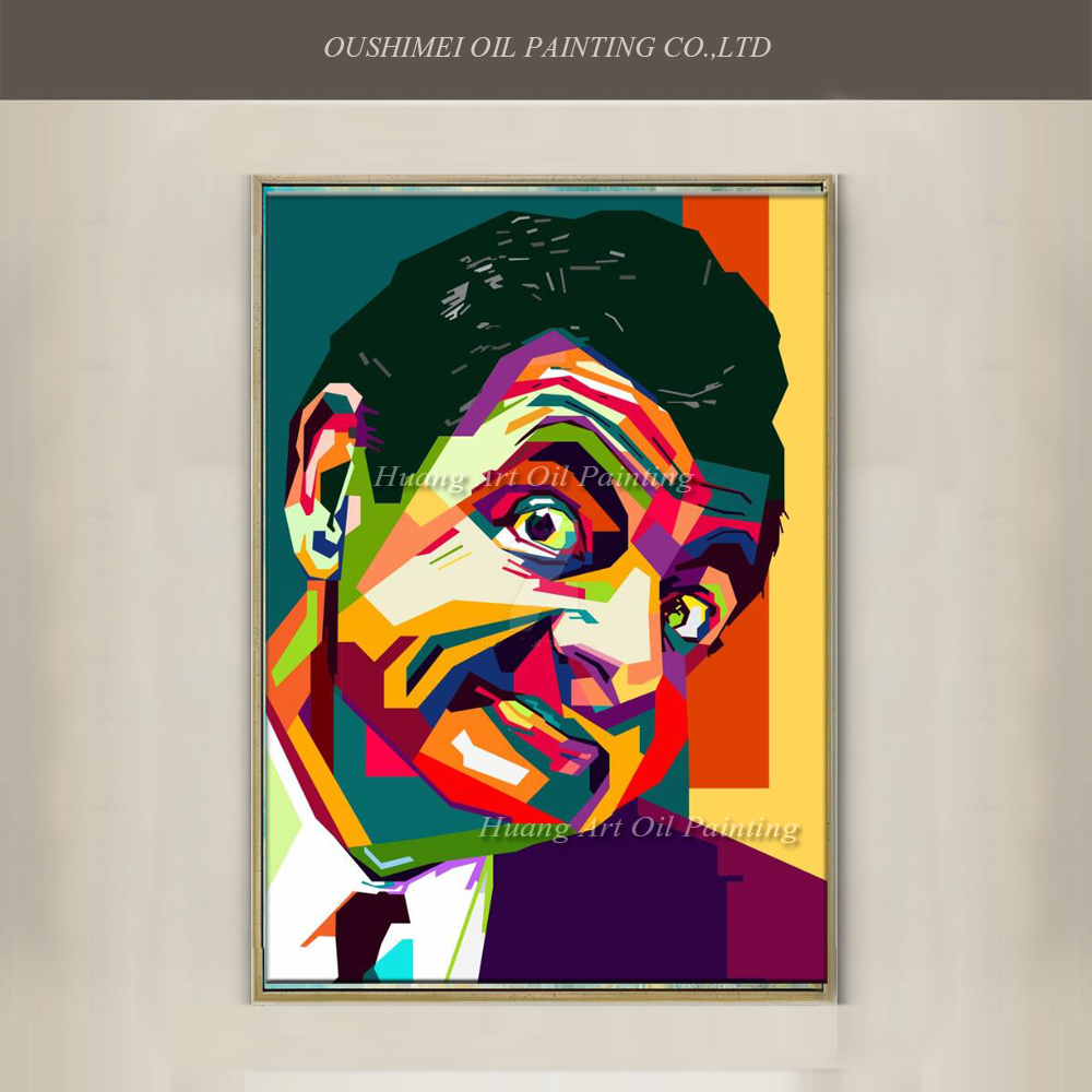 New Hand Painted Famous Man Mr Bean Canvas Abstract Colorful Portrait Oil Painting Actor Rowan Atkinson Acrylic Paintings In Calligraphy From