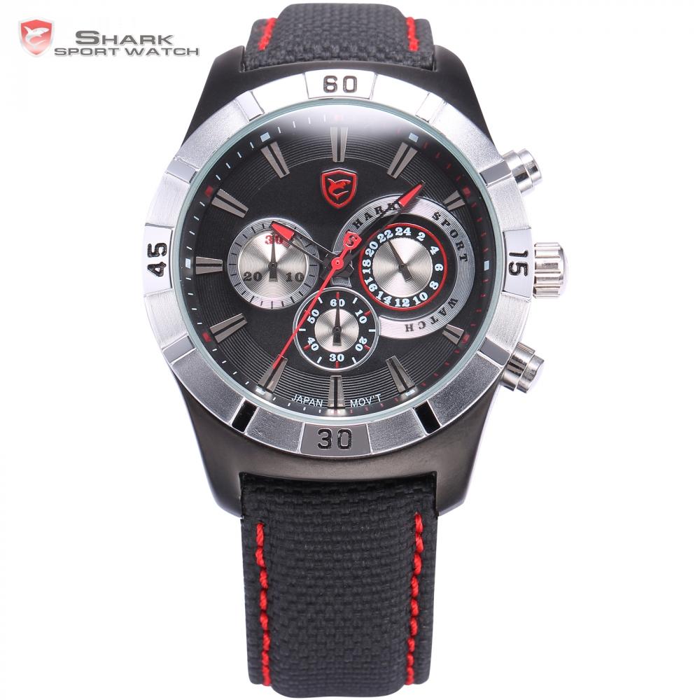 Prix pour Ganges Shark Sport Montre 6 Mains 24 Heures Chronomètre Noir Rouge Sangle en nylon Militaire Homme Horloge Hommes Gent Montre-Bracelet À Quartz/SH287