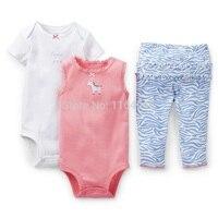 SSL3-007, Original, Baby Girls 3-Piece Set, Short Sleeve and Sleeveless Bodysuit + Pants, Cute Style, Free Shipping
