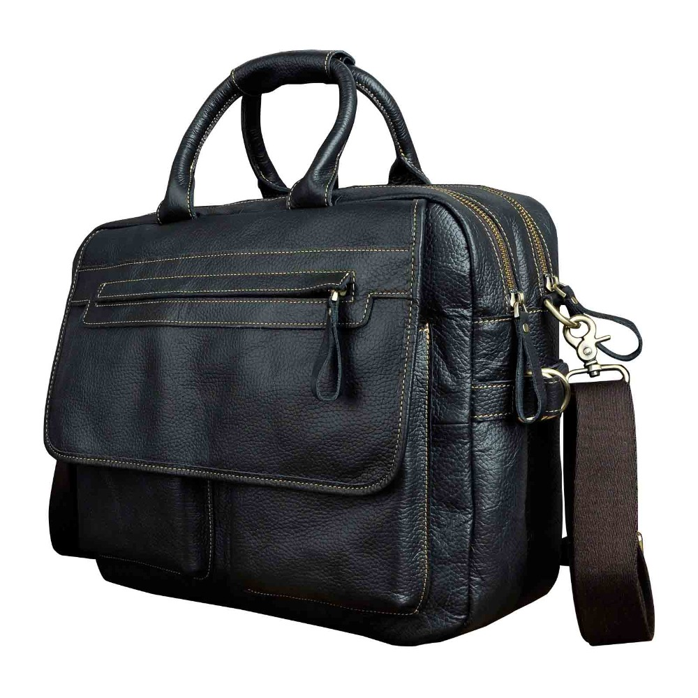 Men Quality Leather Large Business Briefcase Handbag 15.6