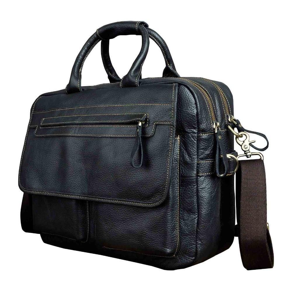 Men Quality Leather Large Business Briefcase Handbag 15.6