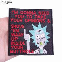 Prajna Cartoon Movie Patches Rick And Morty Iron On Patch Embroidered For Clothing Applique DIY Badges Kids T-shirts