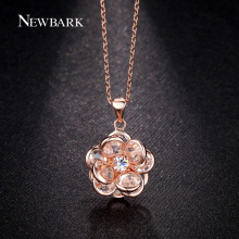 NEWBARK Rose Gold Color Crystal Flower Necklaces Pendants with Round Cubic Zirconia Necklace for Women Girls