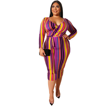 Mirsicas 2019 Women Autumn Dress Stripe Print Casual Office Pencil Dresses