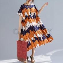 CUERLY Plus Size Women Dress Summer Sundress Linen Print Patchwork Big Female Lady Loose Casual Beach 2019