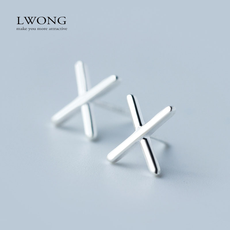 Silver-Jewelry X Studs Earrings Simple Geometric Minimalist Earrings for Women Cross Earrings 2016 Hot Sale