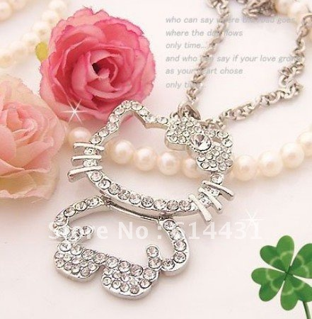 Women lady girl korea accessories shining crystal diamond hollow women lady girl korea accessories shining crystal diamond hollow out hello kitty cat cute sweater chain mozeypictures Gallery