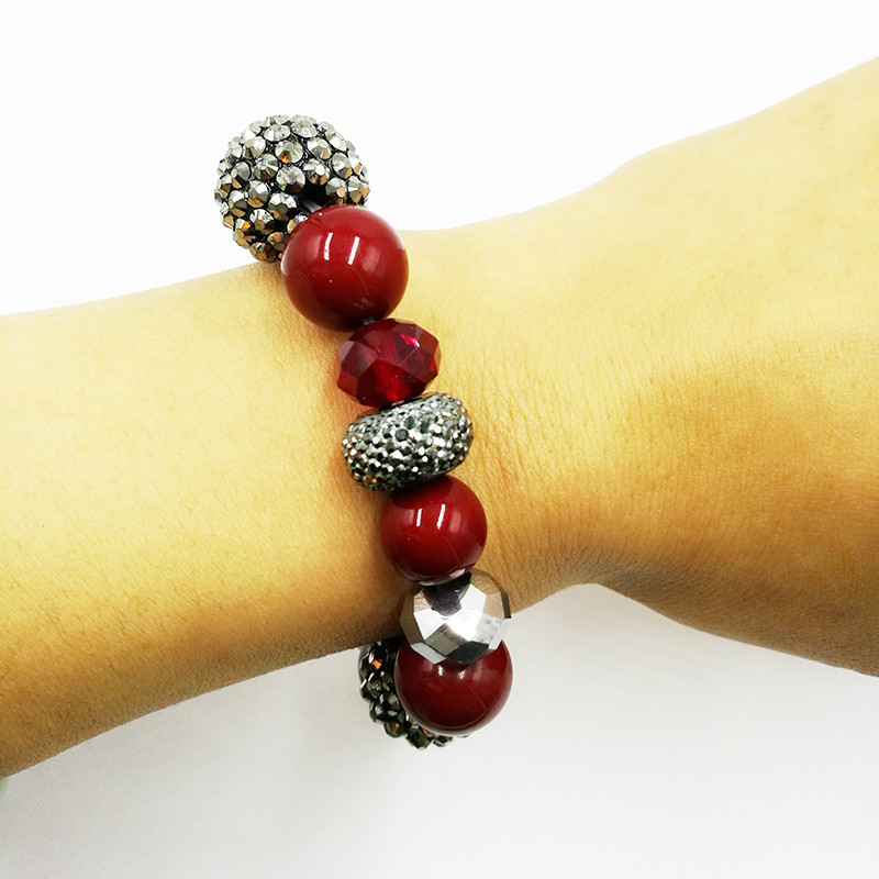 Lucky red acrylic bracelet with shiny resin ball and crystal jewelry Best Gift Bracelets