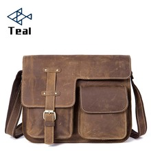 Briefcase Men Genuine Leather shoulder bags Large-Capacity Officer Messenger bag lawyer Vintage briefcase