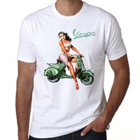 Yiwuliming New Summer Fashion Vespa Vintage Motorcycle Logo Men Hip Hop Moto Gp White T Shirt