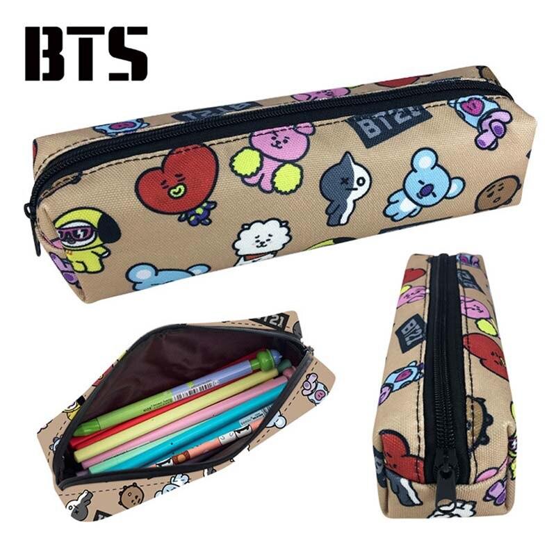 Dropwow NEW Kpop BTS BT21 Bangtan Boys Laser Canvas Pencil Case Stationery  Bag Pencil Box School Supplies Tools d315fb3461fc