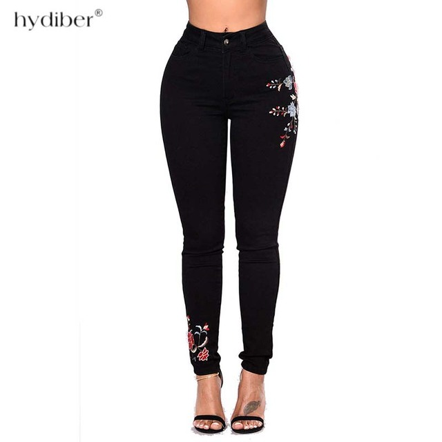 Plus Size High Waist Floral Embroidery jeans 5
