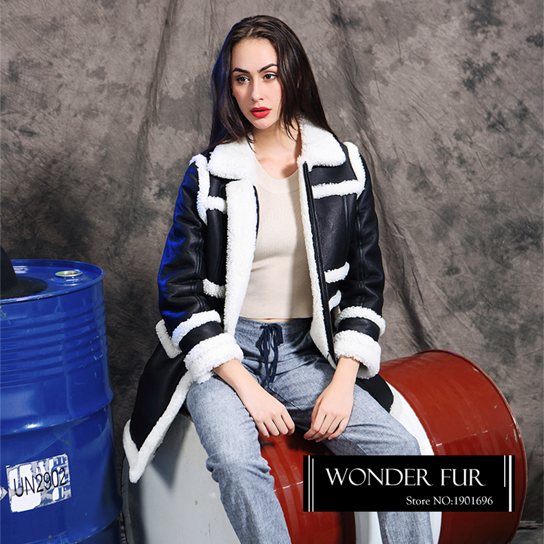 Sheep Fur And Leather Jacket New Arrival Lamb Skin And Fur Garment Medum Length Warm And Thick Real Animal Fur Coat