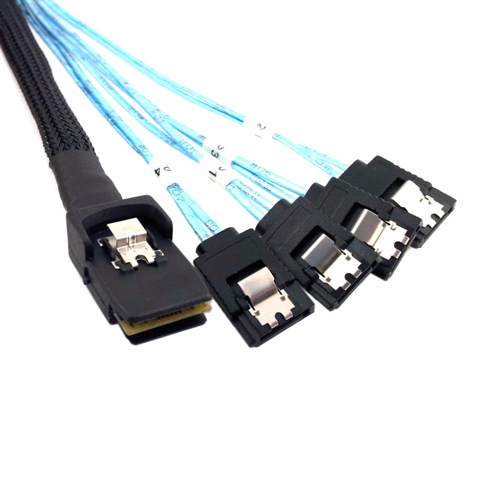 1pcs/Mini SAS 4i SFF-8087 Host to 4 SATA 7Pin Target Hard Drive Splitter Cable 100cm 1.0m
