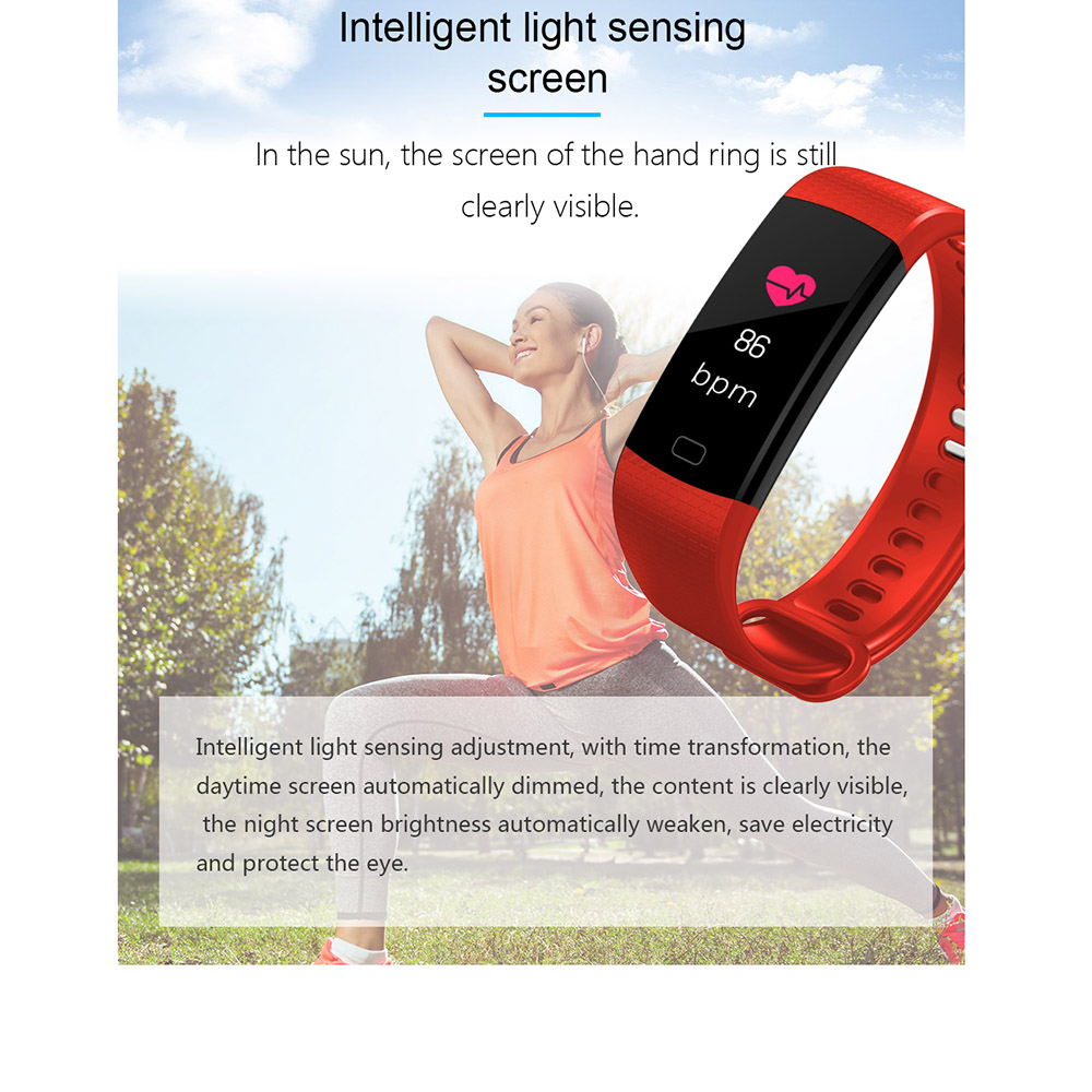 TimeOwner Smart Band Y5 Heart Rate Blood Pressure Monitor High Brightness Colorful Screen Smart Bracelet Wristband Notification 4