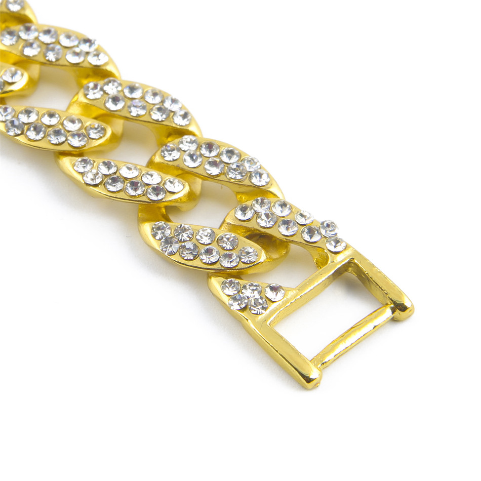Aliexpress.com   Buy UWIN MENS ICED OUT 15mm BLING RHINESTONE MIAMI CUBAN  LINK CHAIN HIP HOP BRACELET GOLD SILVER from Reliable hip hop bracelet  suppliers ... 40dc427d5e51