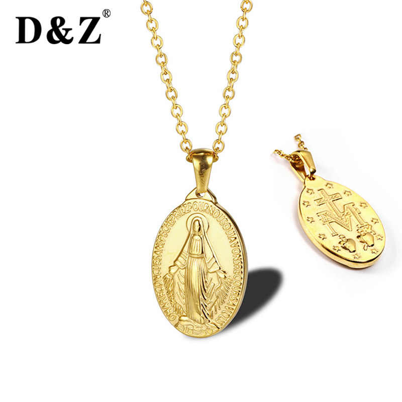 D&Z Catholic Virgin Mary Miraculous Medal Necklace Women Our Lady Jewelry Wholesale Stainless Steel Necklace