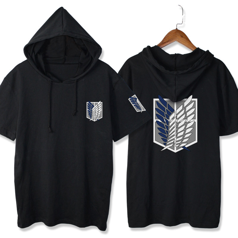Attack on Titans Short Sleeve Hooded T-shirt Casual Summer Women Men's Clothing Shingeki no Kyojin Cosplay T Shirts cotton Tees