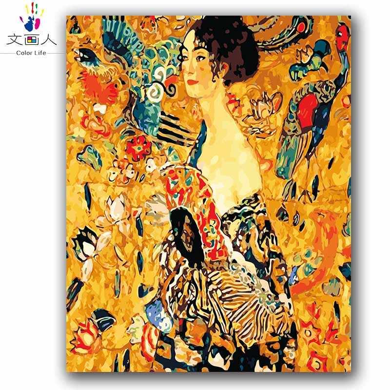 Coloring by numbers Woman with a fan Gustav Klimt picture Abstract figure pictures painting by numbers with kits for hoom decor