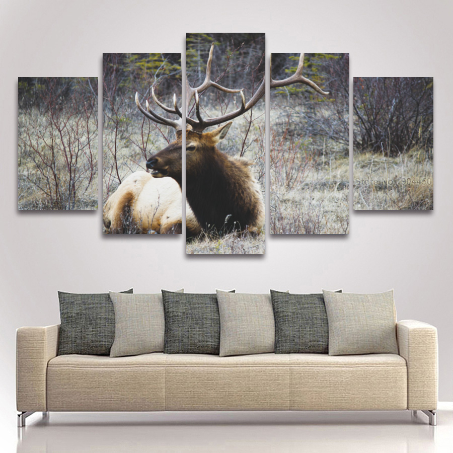 5 panel deer in forest landscape canvas painting modular picture large artwork for wall art bedroom living room home decor in painting calligraphy from