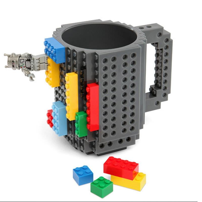 1Pc 12oz DIY lego Block Puzzle Mug Type Build on Brick coffee Mug Buildng Blocks Travel Mugs 10 colors in Mugs from Home Garden