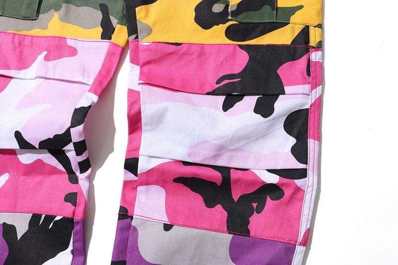 Tri Color Camo Patchwork Cargo Pants 8