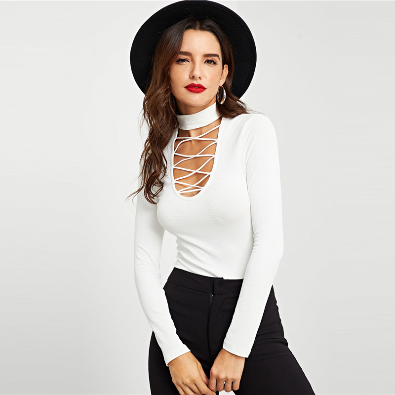 Crisscross Choker Neck Ribbed Knit Top White Fit T-Shirt