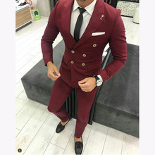 Burgundy Mens Double Breasted Wedding Suits Men Slim Fit Tailor Made Male Business Formal 2 Pieces Prom Tuxedo