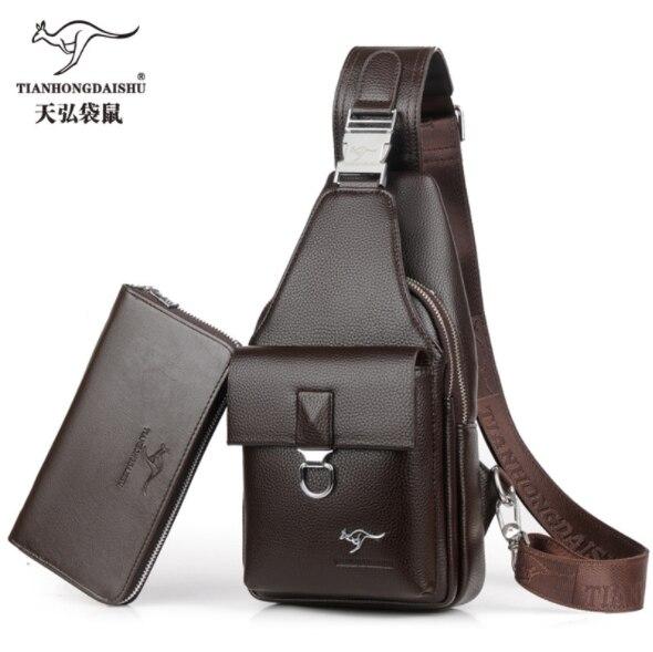 Men's Casual Shoulder bag PU Leather Crossbody man's Travel messenger Bag IPAD Headphone plug Chest Bag  male handbag Chest bags