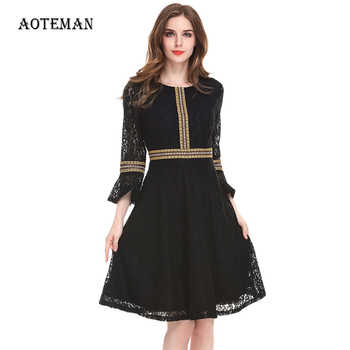 Vintage Patchwork Lace Dress 2019 Casual Elegant Hollow Out Slim Party Dresses Black Red Autumn Winter Women Dress Plus Size 3XL - DISCOUNT ITEM  49% OFF All Category