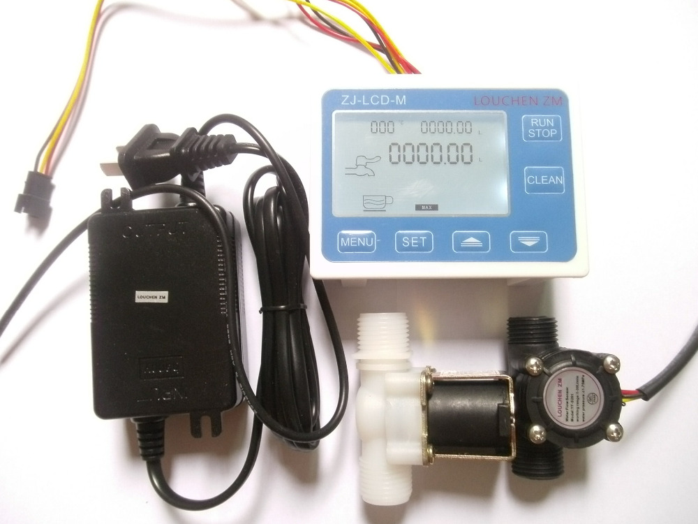 G1 2 Water Flow Control LCD Display Flow Sensor Meter Solenoid Valve Gauge Power adapter