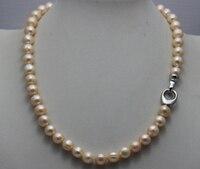 Fresh water pearl naszyjnik różowy nearround 8-9mm 17 INCH alloy zapięcie 28% Zniżki