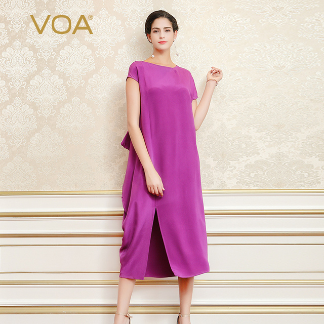 5add90bc0664e VOA 2018 Summer Heavy Silk Lavender Purple Women Irregular Maxi Dress Plus  Size 5XL Casual Brief Solid Loose Long Dress A6965
