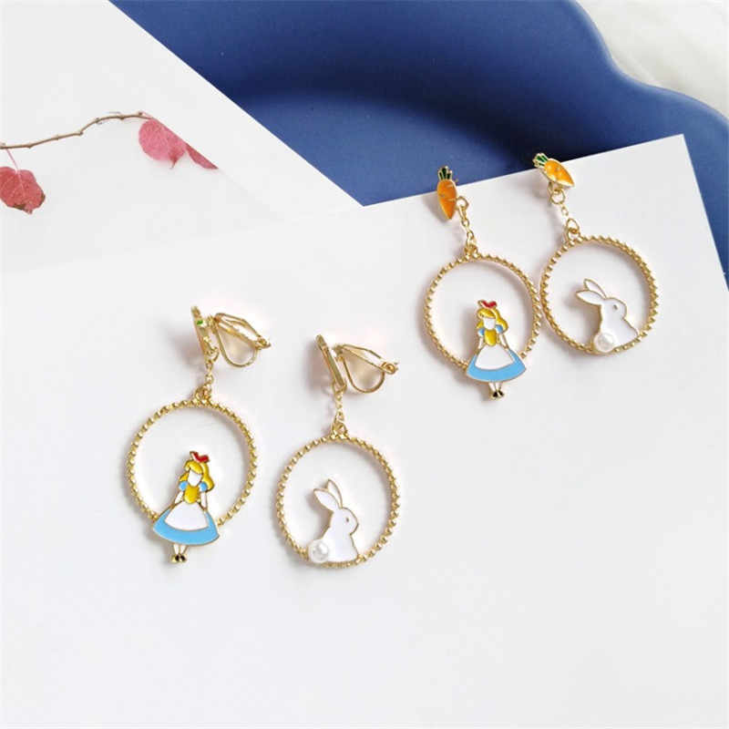 XEDZ Creative Korean Temperament Wild Rabbit Earrings Cartoon Alice Fashion Ladies Accessories Ear Clip Jewelry Gift