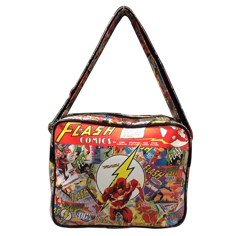 где купить Hot New 2017 Flash Man Messenger Bags Men Leather Shoulder Bag for Campus Students Boy Creative Gift Anime Messenger Bag bolsa по лучшей цене