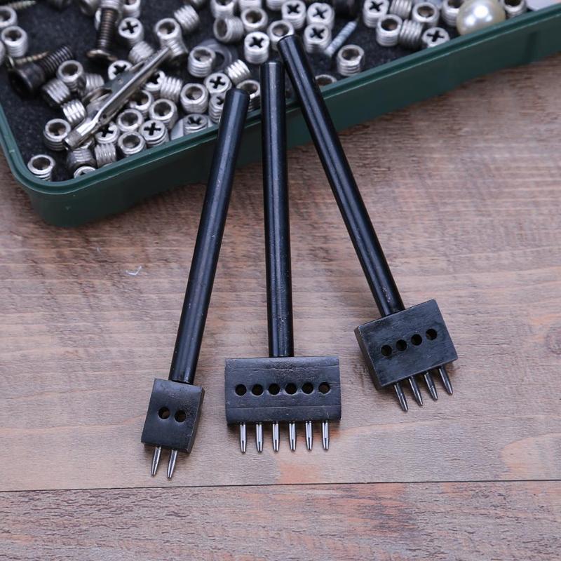 3 pièces/ensemble 5mm pas 2 4 6 broches en cuir trempé perforateur point de cuir Ronde perforeren, fijne staal productie, diamètre de gat