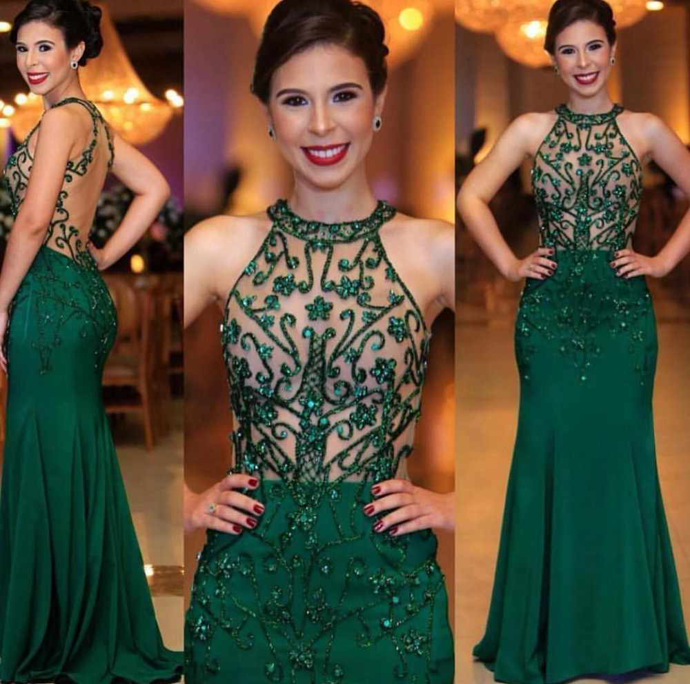 Robe De Soiree Sexy Illusion Beaded Mermaid Evening Dress Long Elegant Halter Green Evening Gowns For Fromal Party