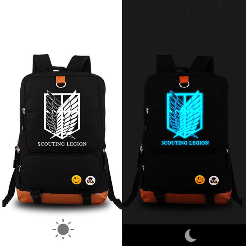 Anime Attack on Titan Scouting Legion Denim Canvas Women Printing Backpack Fashion School Bags for Teenagers Mochila Feminina fairy tail shoulders school bags anime canvas luminous printing backpack schoolbags for teenagers mochila feminina