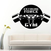 DCTAL Gym Sticker Fitness Barbell Crossfit Muscle Decal Body building Posters Vinyl Wall Decals Parede Decor Mural Gym Sticker