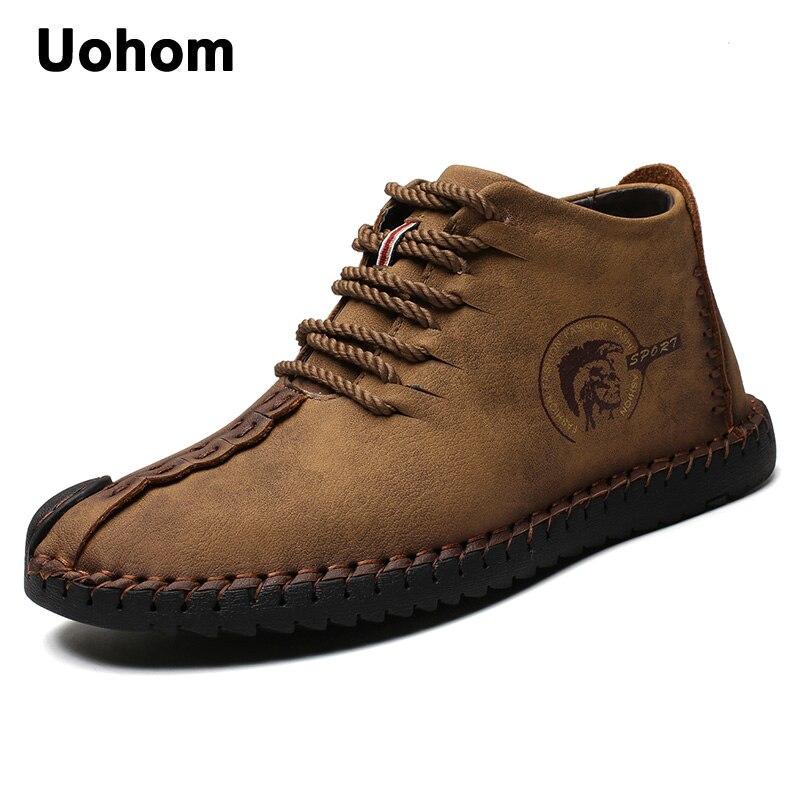 Uohom Fashion Men Boots High Quality Split Leather Ankle Snow Boots Shoes Warm Fur Plush Lace-Up Winter Shoes Plus size 38~48