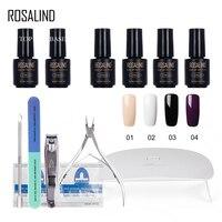 ROSALIND 12PCS/Lot Soak off Solid Color Nail Manicure Kits Any 4 Colors Sunmini plus UV LED Lamp gel lacquer