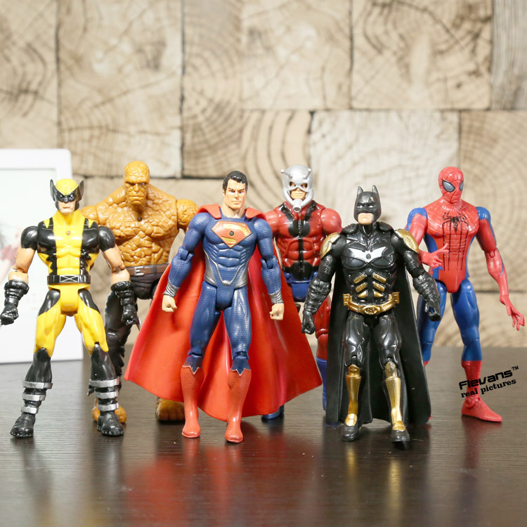 Super Heroes Superman Batman Spiderman Logan The Thing PVC Action Figures Toys 6pcs/set HRFG403