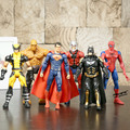 Super-heróis Superman Batman Spiderman Logan A Coisa Ação PVC Figuras Brinquedos 6 pçs/set HRFG403