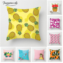 Fuwatacchi Fruit Cushion Cover Tropical Pineapple Printed Colorful Throw Pillow For Home Sofa Chair Decorative Pillowcase