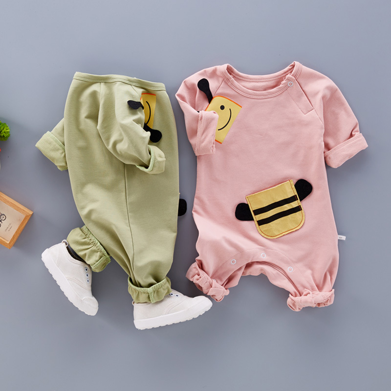 Baby Romper Long Sleeves 100% Cotton Baby Pajamas Toddler Infant Jumpsuit Cartoon Bees Printed Newborn Baby Girls Boys Clothes newborn baby boy winter rompers long sleeve cotton clothing toddler baby clothes romper warm cartoon jumpsuit baby boys pajamas